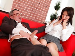 A great tricky old teacher movie with two babes instead of one. This teacher is really up on his game to get them both sucking on his cock and fucking him.video