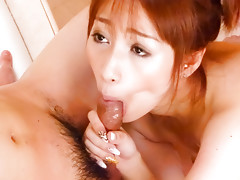 Sweet scene in which Tiara Ayase gives a blowjob in the bathroomvideo