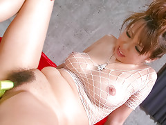 Asuka in white fishnet body suit has her round tits squeezed before jizzed onvideo