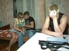 When the guy returned back from work that day, he was unpleasantly surprised to find out that there was no food at home. Actually, they had only two pieces of bread but that was not enough for him. That is why he talked his petite and very kinky girlfriend into fucking his well-to-do friend.video